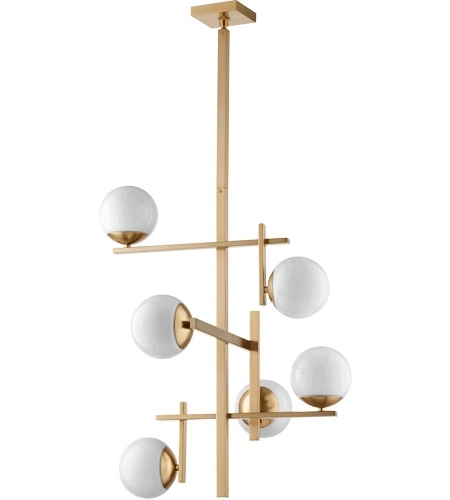 Well Known Quorum 628 6 80 Atom 25 Inch Aged Brass Chandelier Ceiling Light, Opal Throughout Atom Chandeliers (View 10 of 10)