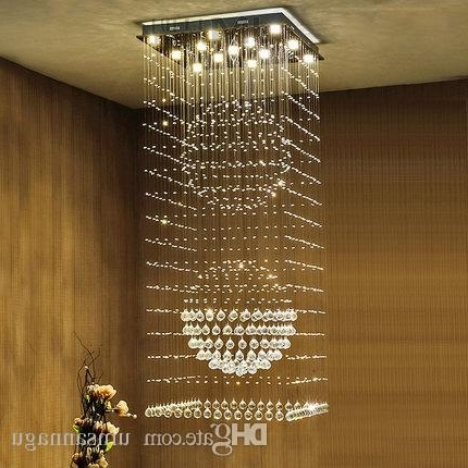 Well Known Square Crystal Chandeliers Led Modern K9 Chandelier Lights Fixture Throughout Long Hanging Chandeliers (View 9 of 10)