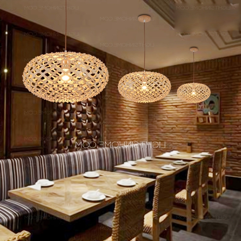 Well Known Texture Oval Shaped Wooden Japanese Pendant Lights For Restaurant For Chandelier For Restaurant (View 3 of 10)