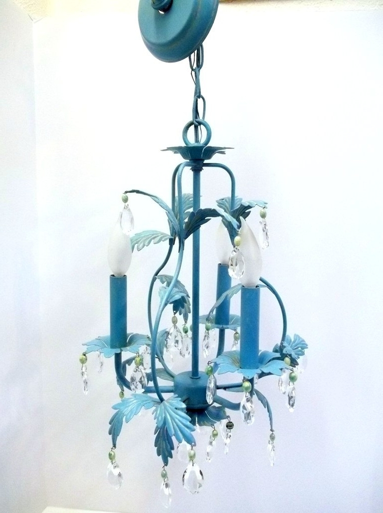 Well Known Turquoise Birdcage Chandeliers Intended For Aqua Blue Tole Crystal Chandelier Birdcage Shaped Light Turquoise (View 10 of 10)