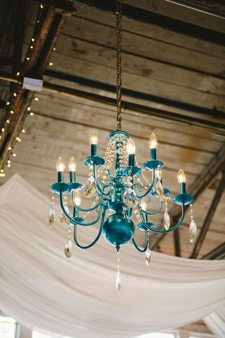 Well Known Turquoise Color Chandeliers Within A Cheery Wedding With A Turquoise, Orange And Yellow Color Palette (Gallery 4 of 10)
