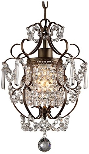 "Well Known Whse Of Tiffany Rl4025br Rosalie 1 Light Antique Bronze 11"" Crystal Pertaining To Bronze And Crystal Chandeliers (View 2 of 10)"