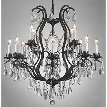 """Well Known Wrought Iron Crystal Chandelier H30"""" X W28"""" – Chandelier Lighting In Wrought Iron Chandelier (View 8 of 10)"""