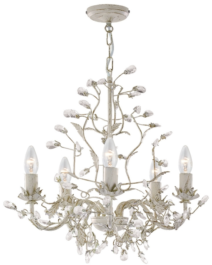 Well Liked Almandite Cream / Gold 5 Light Chandelier With Crystal 2495 5Cr With Regard To Cream Chandelier Lights (View 2 of 10)