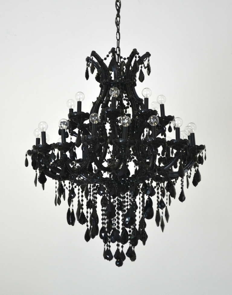 Well Liked Black Glass Chandeliers With Regard To Black Glass Maria Theresa Style Chandelier At 1stdibs For Plans (View 6 of 10)