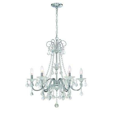 Well Liked Crystal Chrome Chandeliers Within Crystal – Chrome – Chandeliers – Lighting – The Home Depot (View 9 of 10)