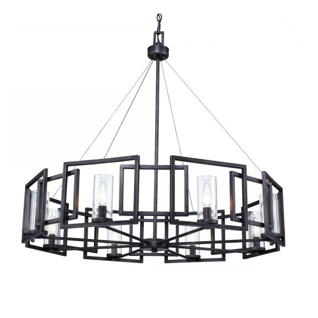 Well Liked Post Modern Black Iron Art And 8 Clear Glass Shades Chandelier 1 Intended For Modern Black Chandelier (View 5 of 10)