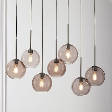Well Liked Sculptural Glass 7 Light Linear Chandelier, Small Globe, Smoke Shade Within 7 Light Chandeliers (View 4 of 10)