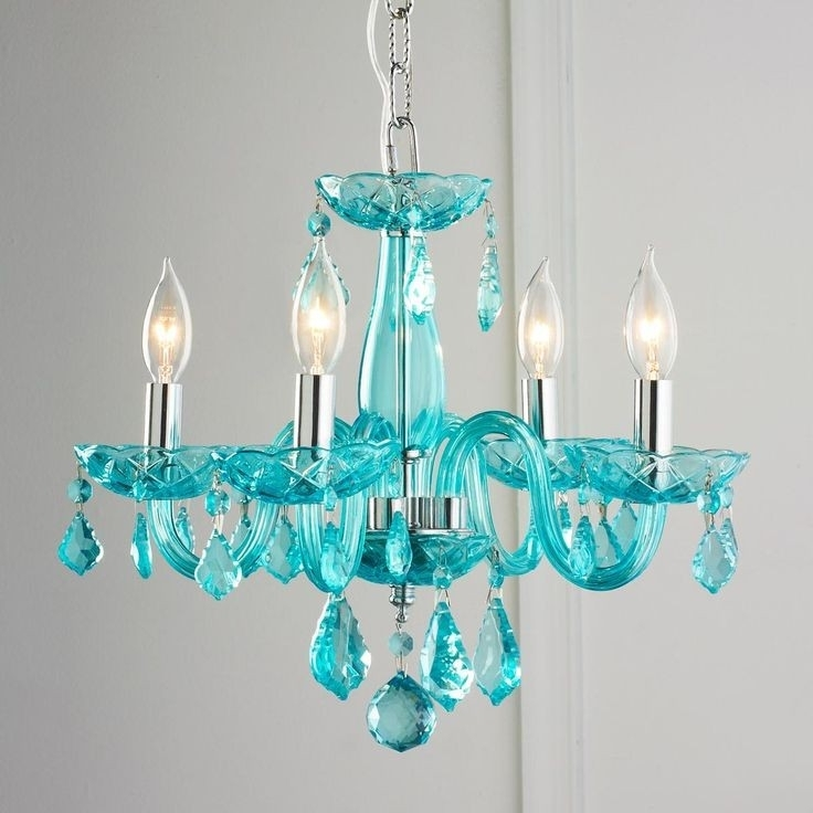 Well Liked Turquoise Crystal Chandelier Lights Intended For Home Design : Exquisite Colored Crystal Chandeliers Multi Mini (View 8 of 10)