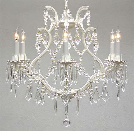White And Crystal Chandeliers With Regard To Newest A83 White/3530/6 Wrought Iron Chandelier Chandeliers, Crystal (View 9 of 10)
