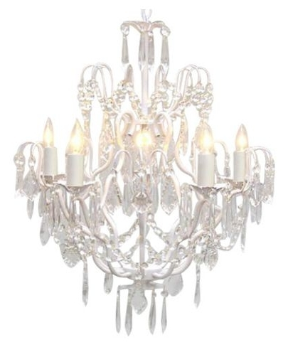 White And Crystal Chandeliers Within Preferred White Wrought Iron Crystal Chandelier – Traditional – Chandeliers (View 10 of 10)