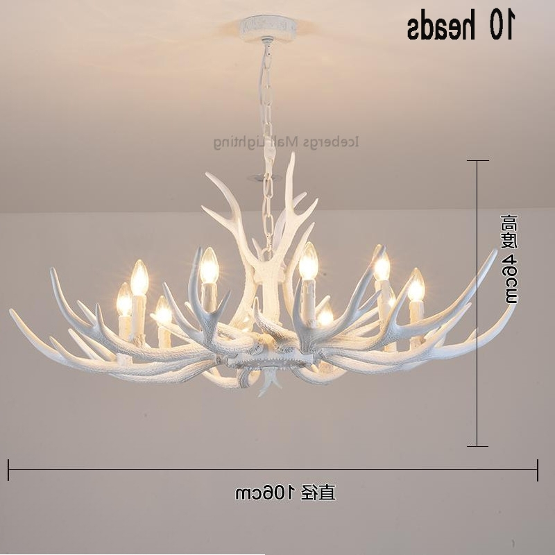 White Antler Chandelier Pertaining To Widely Used Modern White Antler Chandelier Novelty Lustre Light For Dining Room (View 7 of 10)