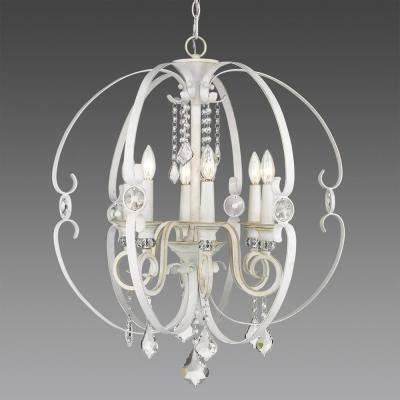 White – Globe – Chandeliers – Lighting – The Home Depot Regarding Most Recently Released White Chandeliers (View 8 of 10)