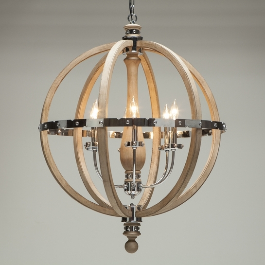 Widely Used Globe Chandeliers With Engineered 32 Wood & Stainless Steel Globe Chandelier : , High End (View 10 of 10)