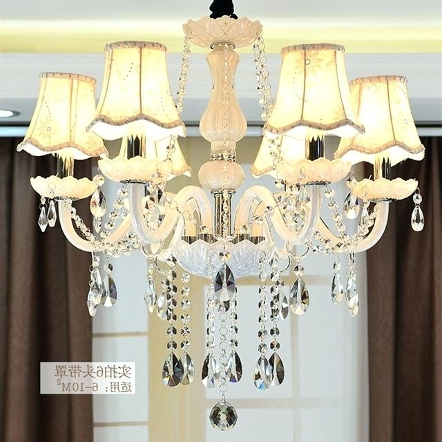 Widely Used Lamp Shade Chandelier Classic Pure White 6 Heads Rustic Iron Glass Within Lampshades For Chandeliers (View 6 of 10)