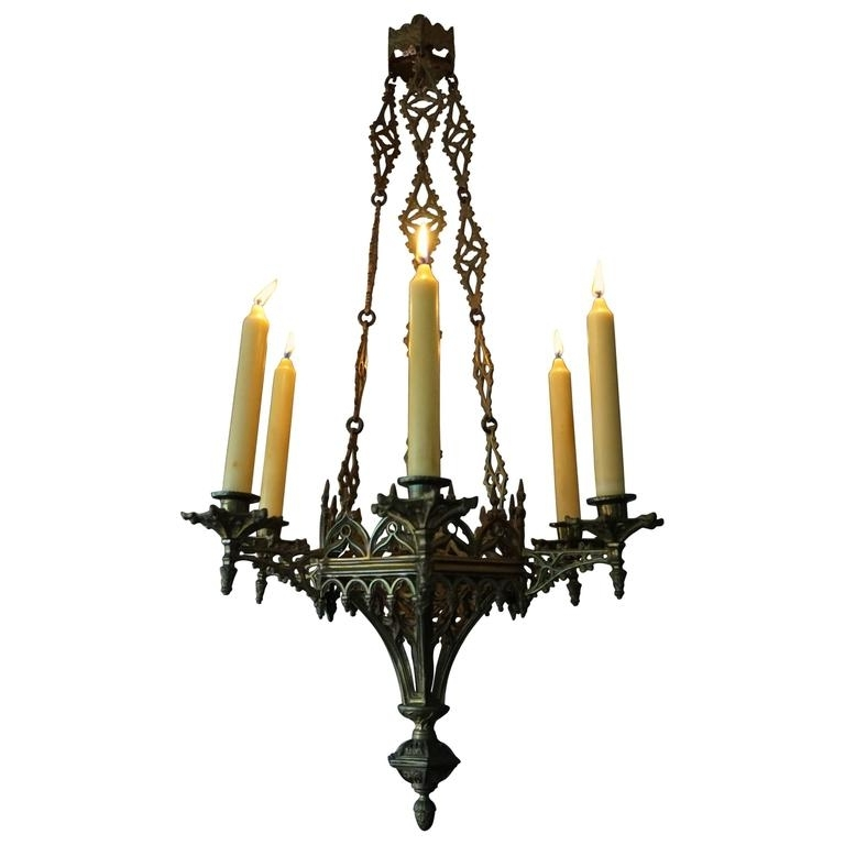 Widely Used Rare Late 19th Century Gothic Revival Gilt Candle Lamp Six Candle With Regard To Candle Chandelier (View 7 of 10)