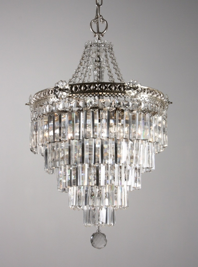 Widely Used Stunning Antique Silver Plated Five Tier Chandelier With Crystal Within 3 Tier Crystal Chandelier (View 9 of 10)