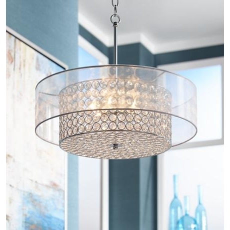 """Widely Used Turquoise Drum Chandeliers With Possini Euro Viviette 20"""" Wide Crystal Drum Pendant Light (View 4 of 10)"""