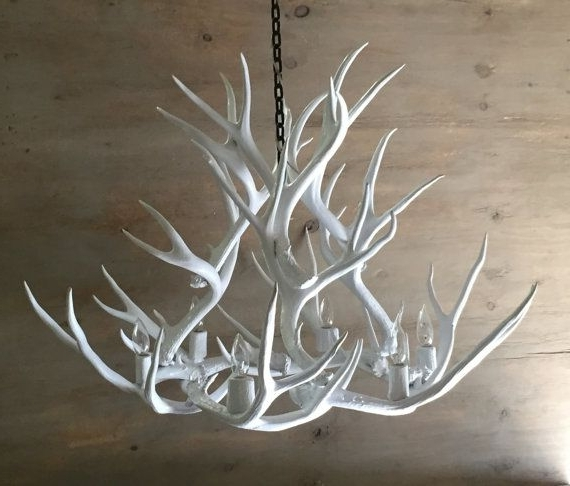 Widely Used White Antler Chandelier Intended For Antler Chandelier, Painted Solid White And Hand Crafted Using (View 1 of 10)