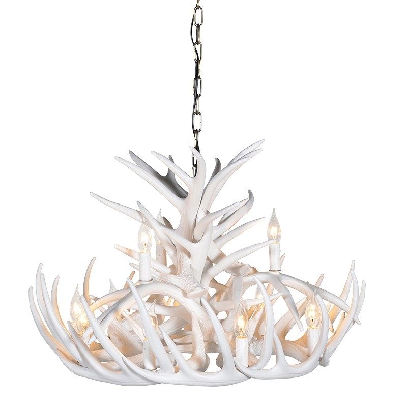 Wilderness White 2 Tier Antler Chandelier Inside Most Popular White Antler Chandelier (View 6 of 10)