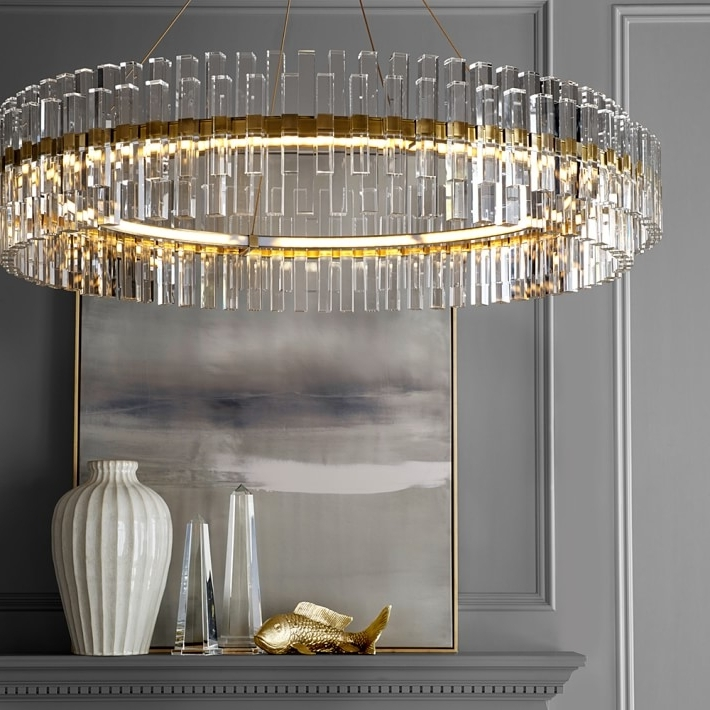 Williams Sonoma Regarding Brass And Crystal Chandelier (View 2 of 10)
