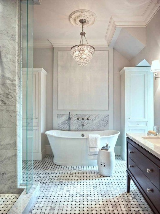 Wonderful Crystal Chandelier For Bathroom 25 Best Ideas About With Regard To Most Up To Date Crystal Chandelier Bathroom Lighting (View 3 of 10)