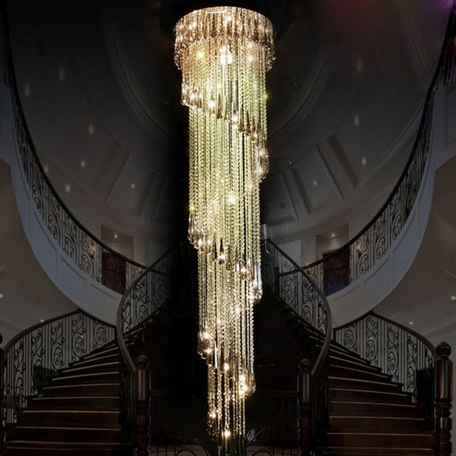 Zyy Modern Clear Led K9 Crystal Chandelier Long Suspension Compound For Well Liked Long Chandelier (Gallery 10 of 10)