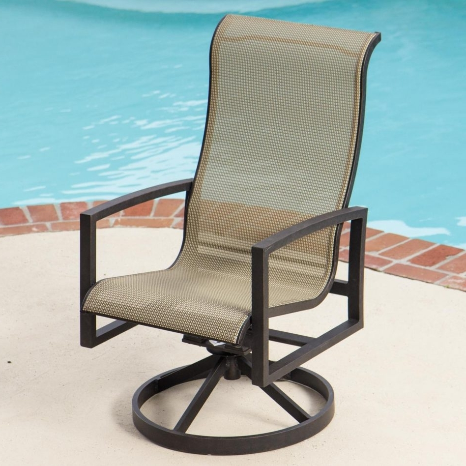 2017 51 Patio Sling Chair, Shop Garden Treasures Burkston Sling Chaise In Patio Sling Rocking Chairs (View 13 of 15)