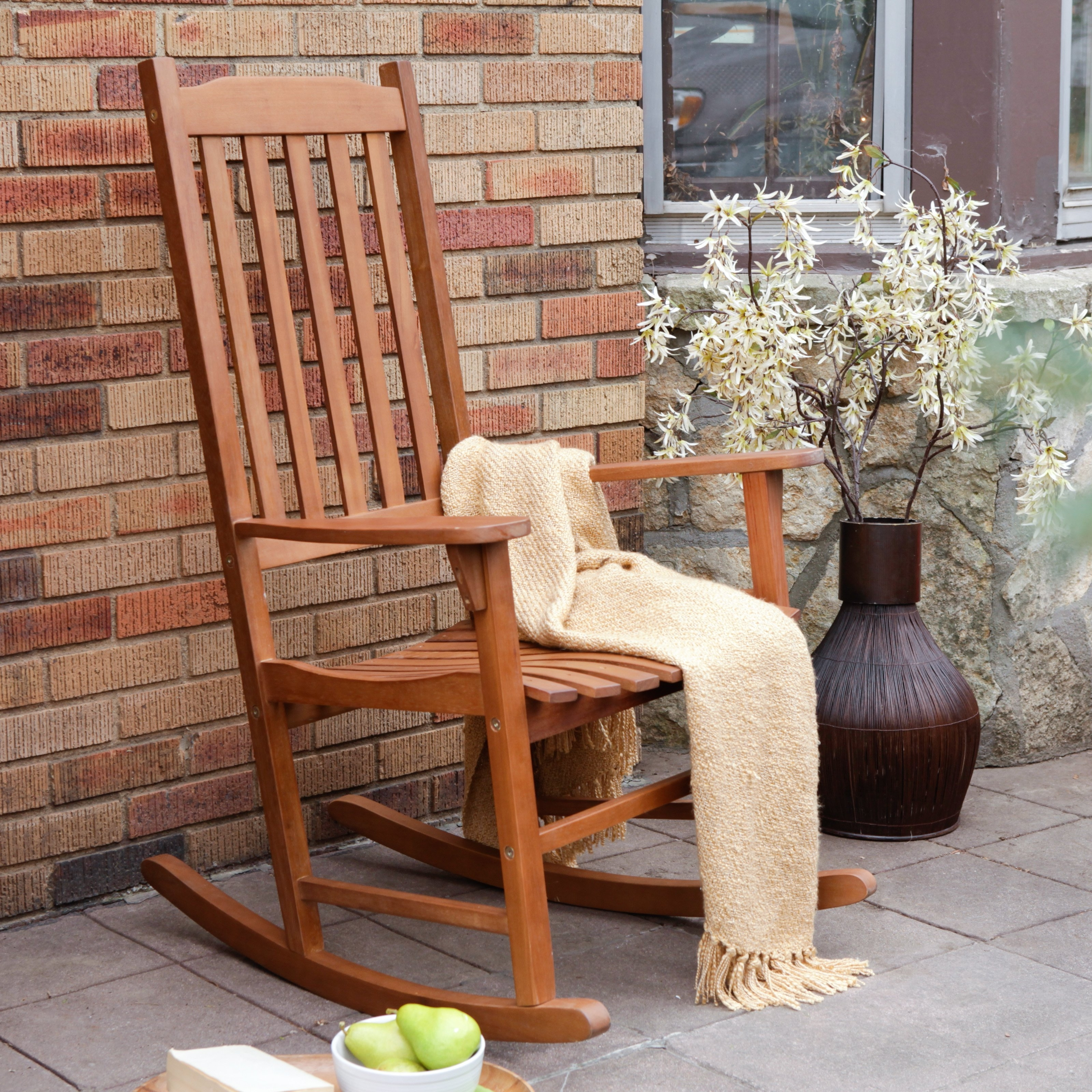 2017 Coral Coast Indoor/outdoor Mission Slat Rocking Chair – Natural Regarding Rocking Chair Outdoor Wooden (View 1 of 15)