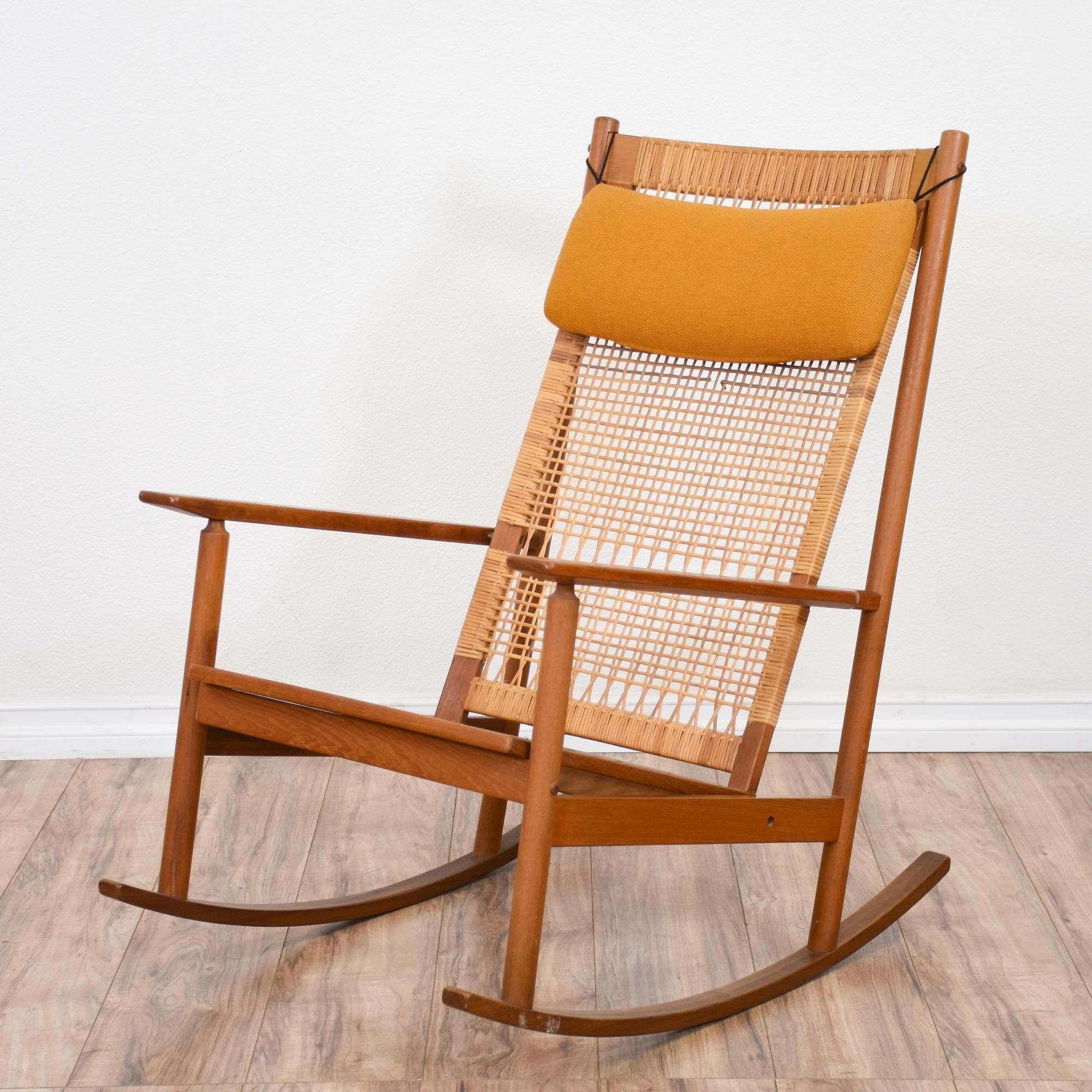 2017 This Mid Century Modern Rocking Chair Featured Solid Wood Yellow For Yellow Outdoor Rocking Chairs (View 1 of 15)