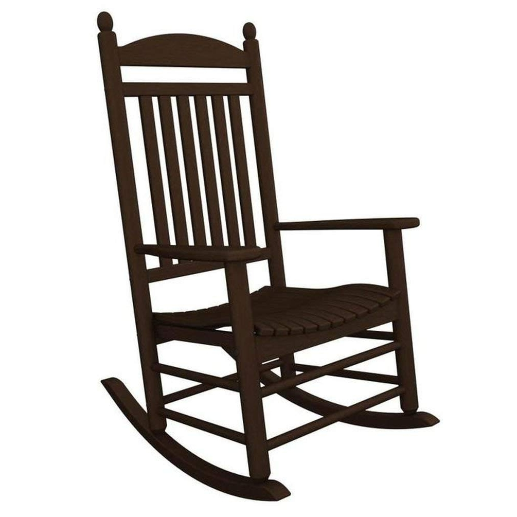 2018 Amazon : Polywood Outdoor Furniture Jefferson Rocker, Mahogany Throughout Outdoor Vinyl Rocking Chairs (View 3 of 15)