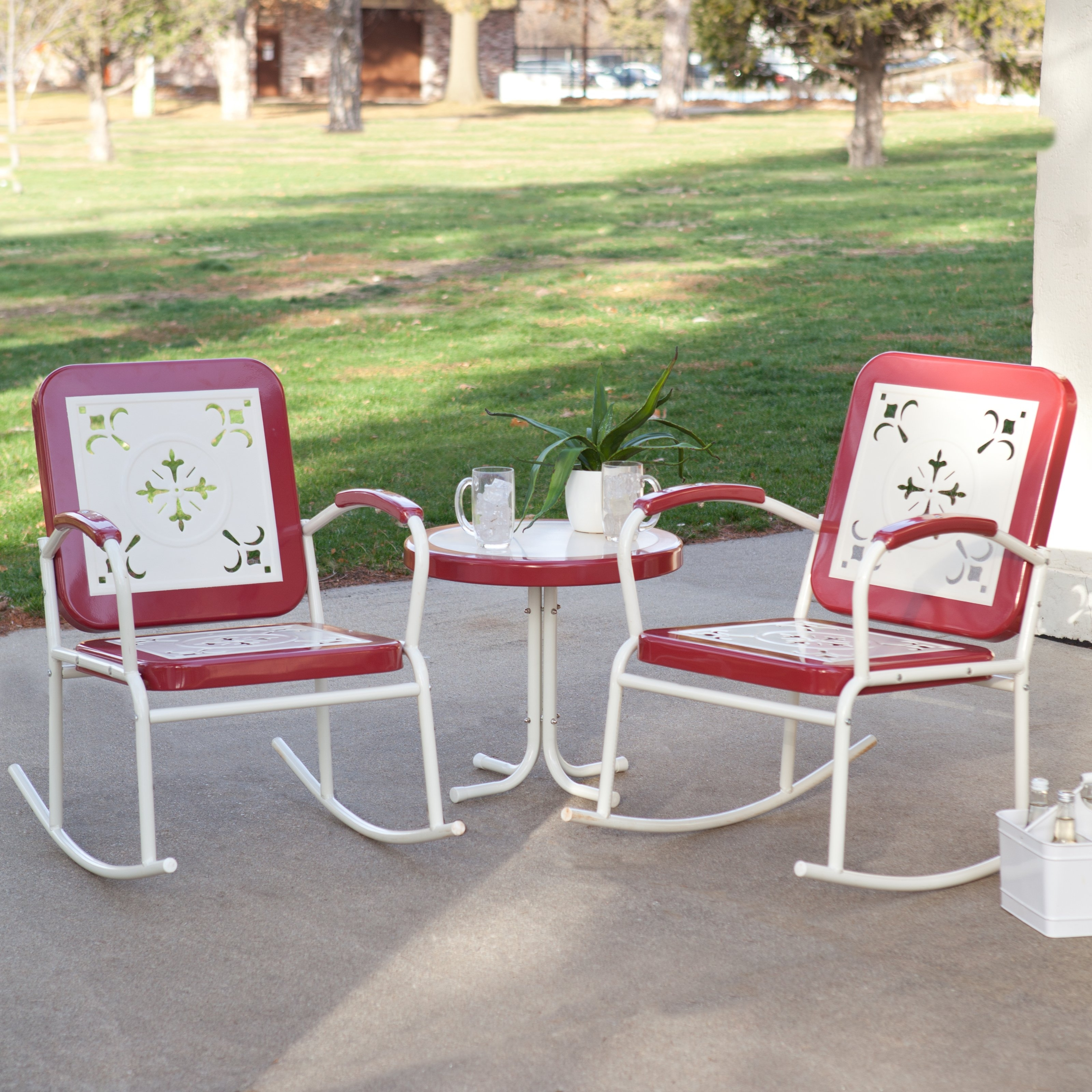 2018 Coral Coast Paradise Cove Retro Metal Rocking Chairs – Set Of 2 For Retro Outdoor Rocking Chairs (View 12 of 15)