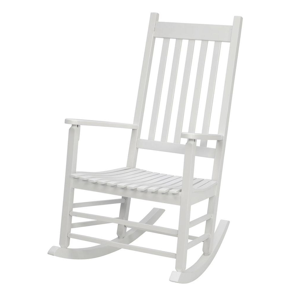 2018 Jack Post White Mission Patio Rocker 08100877 – The Home Depot Within Rocking Chairs At Home Depot (View 3 of 15)