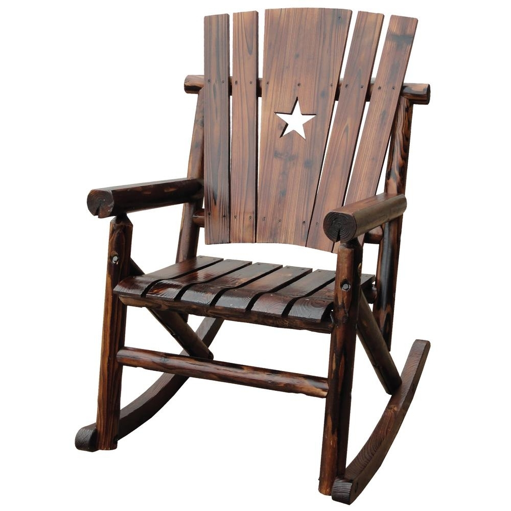 2018 Leigh Country Char Log Patio Rocking Chair With Star Tx 93605 – The For Rocking Chairs (View 14 of 15)