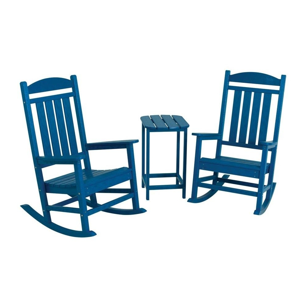 2018 Patio Rocking Chairs And Table With Regard To Polywood Presidential Pacific Blue 3 Piece Patio Rocker Set Pws139  (View 3 of 15)