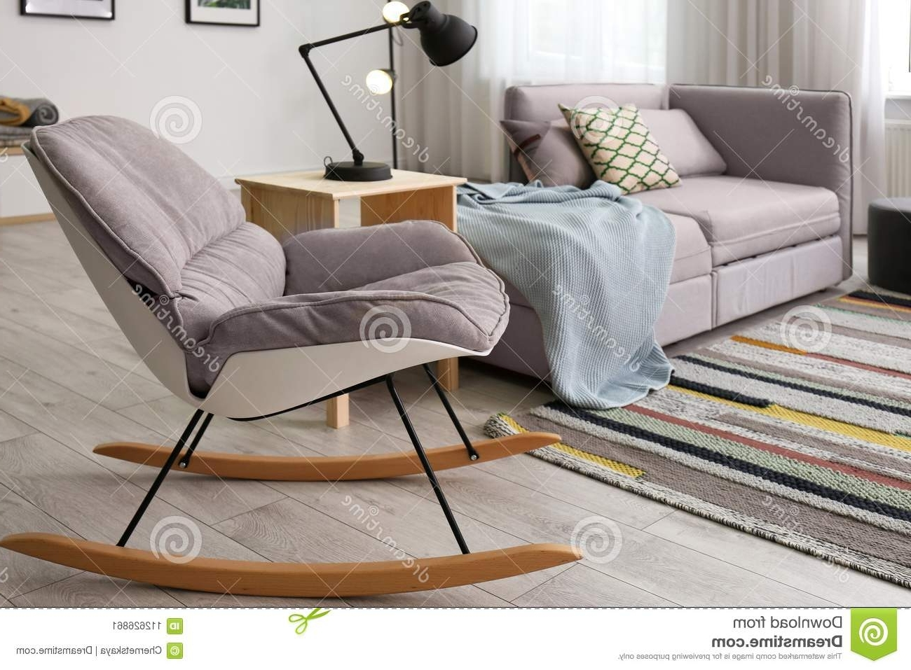 2018 Stylish Living Room Interior With Rocking Chair Stock Image – Image With Regard To Rocking Chairs For Living Room (View 11 of 15)