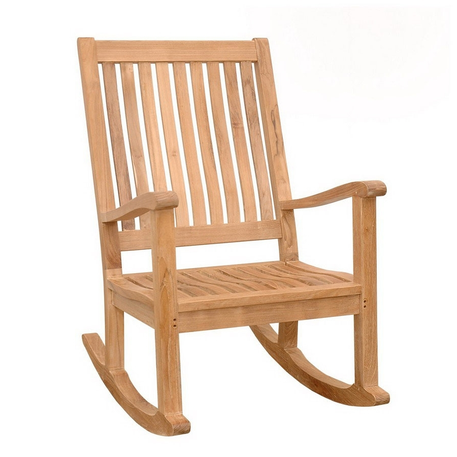 2018 Teak Patio Rocking Chairs Throughout Shop Anderson Teak Del Amo Teak Rocking Chair With Slat Seat At (View 2 of 15)