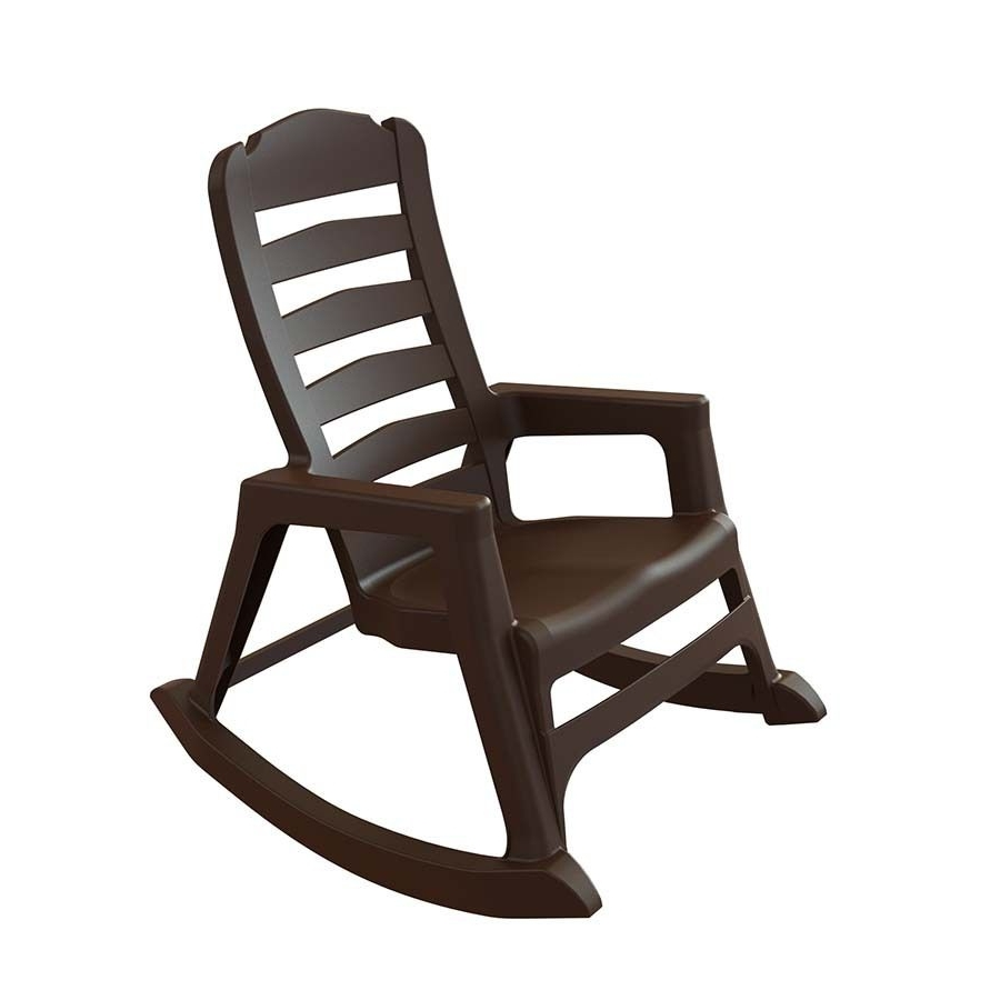 Adams Mfg Corp Earth Brown Resin Stackable Patio Rocking Chair In Most Recent Stackable Patio Rocking Chairs (View 1 of 15)