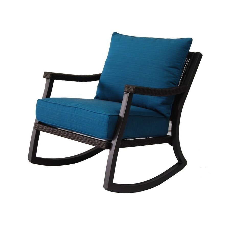 Allen + Roth Netley Brown Wicker Rocking Patio Conversation Chair Pertaining To 2017 Brown Wicker Patio Rocking Chairs (View 11 of 15)