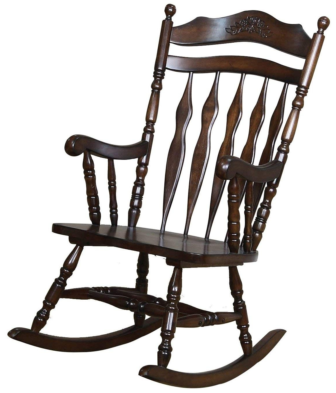 Amazon: Coaster Traditional Medium Brown Wood Rocking Chair With Well Known Rocking Chairs With Lumbar Support (View 12 of 15)