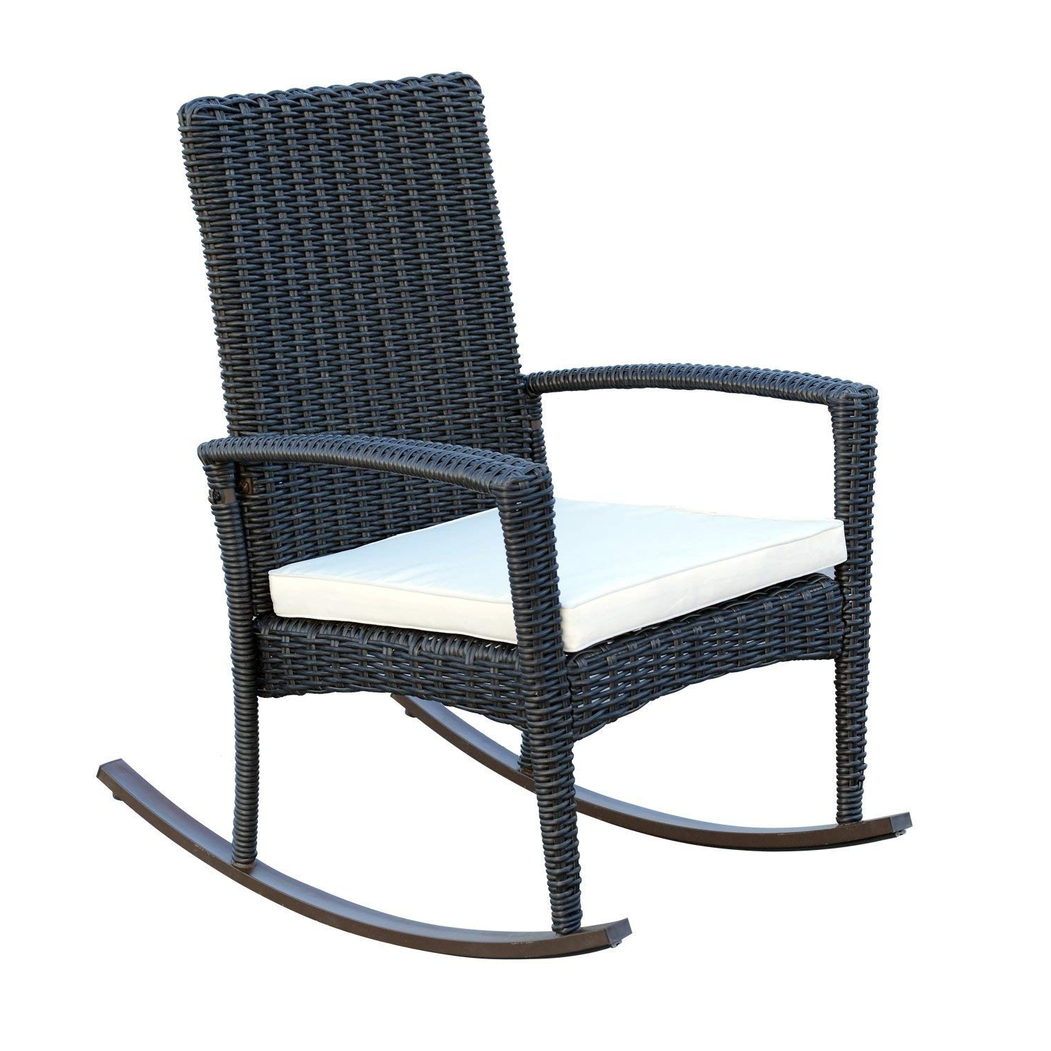 Amazon : Outsunny 3 Piece Outdoor Rocking Chair And Table Set Pertaining To Current Manhattan Patio Grey Rocking Chairs (View 6 of 15)