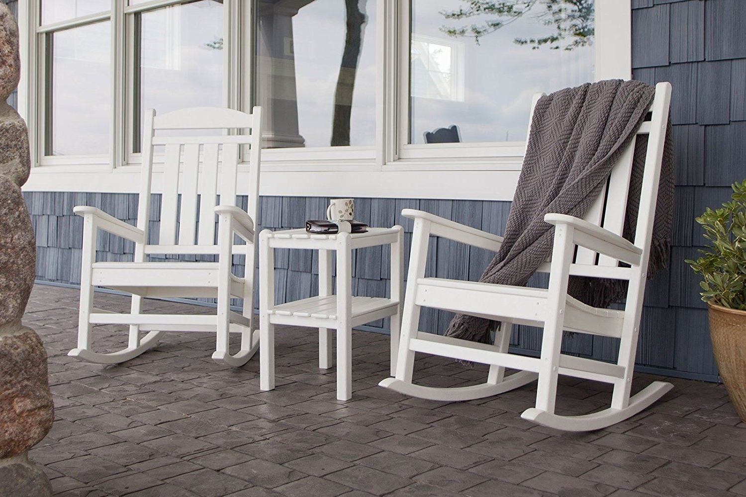 Amazon : Polywood R100wh Presidential Rocker, White : Rocking In Most Recent Outdoor Rocking Chairs With Table (View 5 of 15)