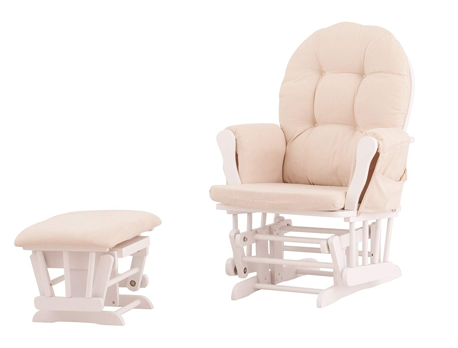 Amazon Rocking Chairs In Famous Amazon: Status Roma Glider And Nursing Ottoman, White/beige: Baby (View 1 of 15)