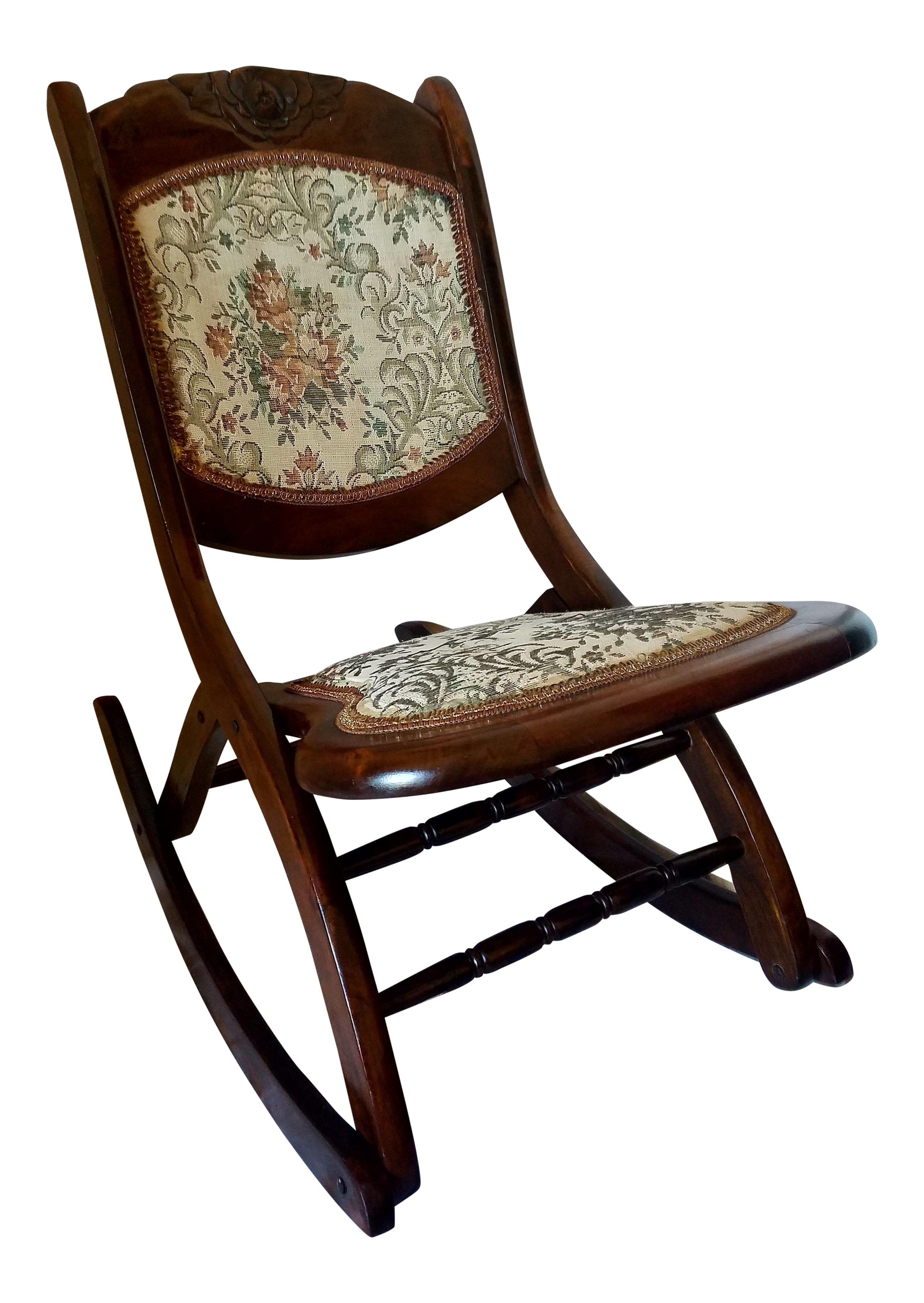 Antique Folding Rocking Chair Chairish Chairs With Lumbar Support Inside Most Up To Date Rocking Chairs With Lumbar Support (View 11 of 15)