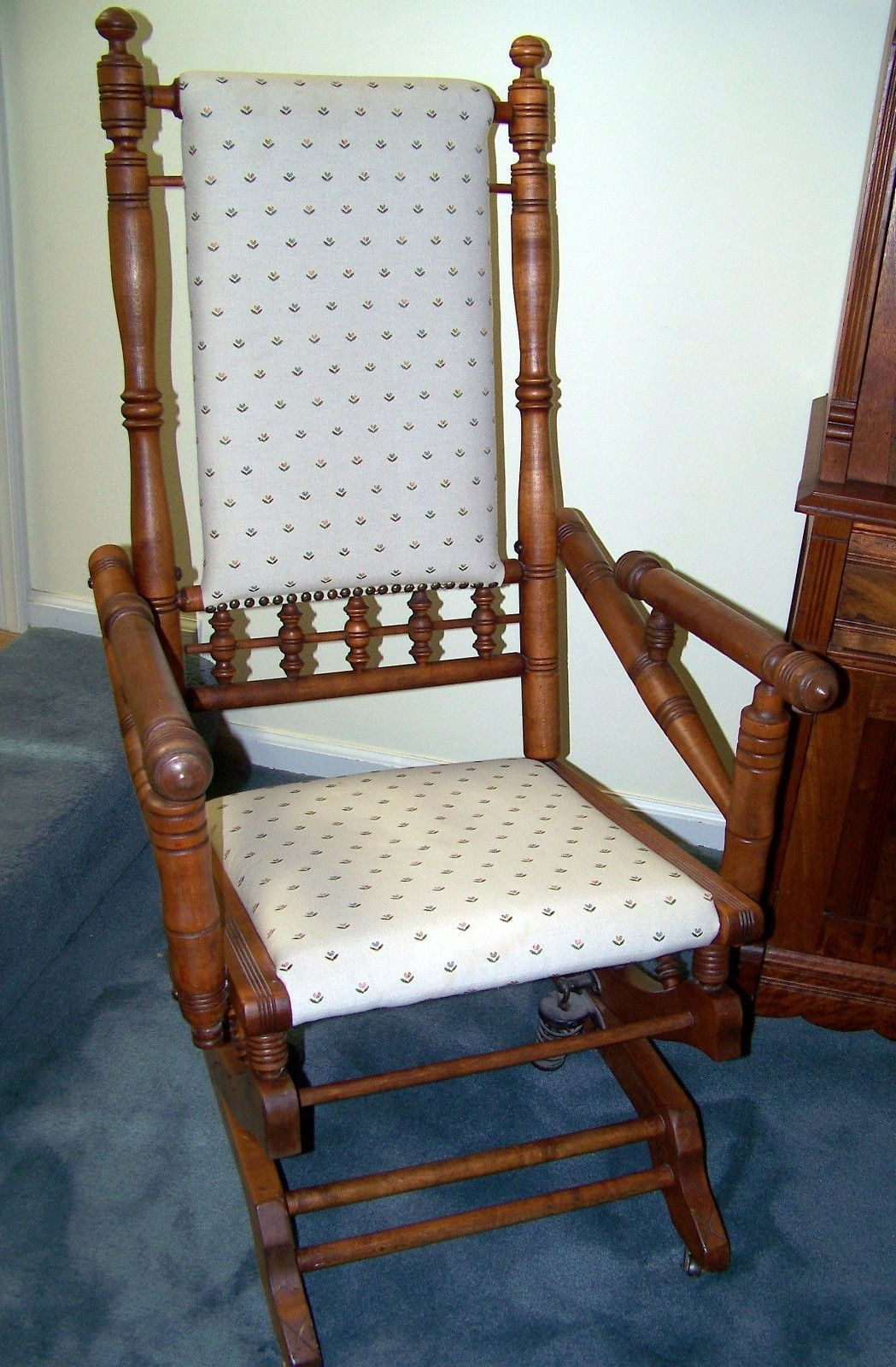 Antique Spindle Rocking Chair — Springs — 1920s – Maple –consider Inside Favorite Rocking Chairs With Springs (View 14 of 15)
