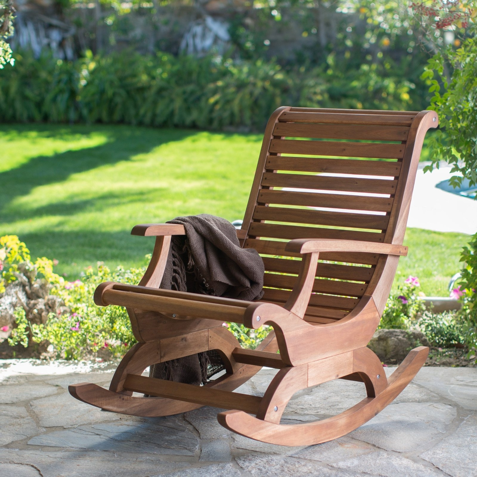 Belham Living Avondale Oversized Outdoor Rocking Chair – Natural Within Preferred Outdoor Rocking Chairs (View 2 of 15)