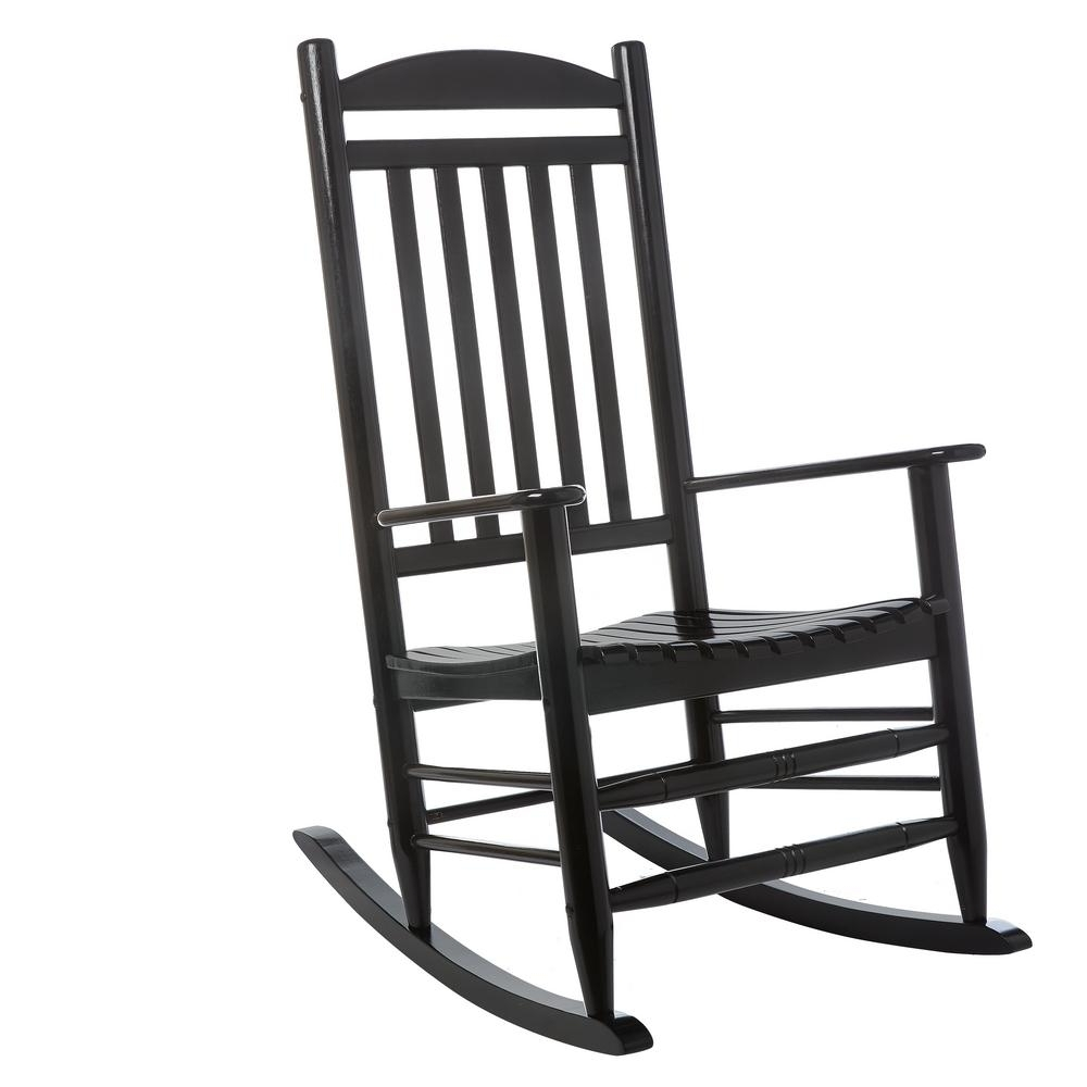 Best And Newest Black Rocking Chairs Inside Hampton Bay Black Wood Outdoor Rocking Chair 2. (View 4 of 15)
