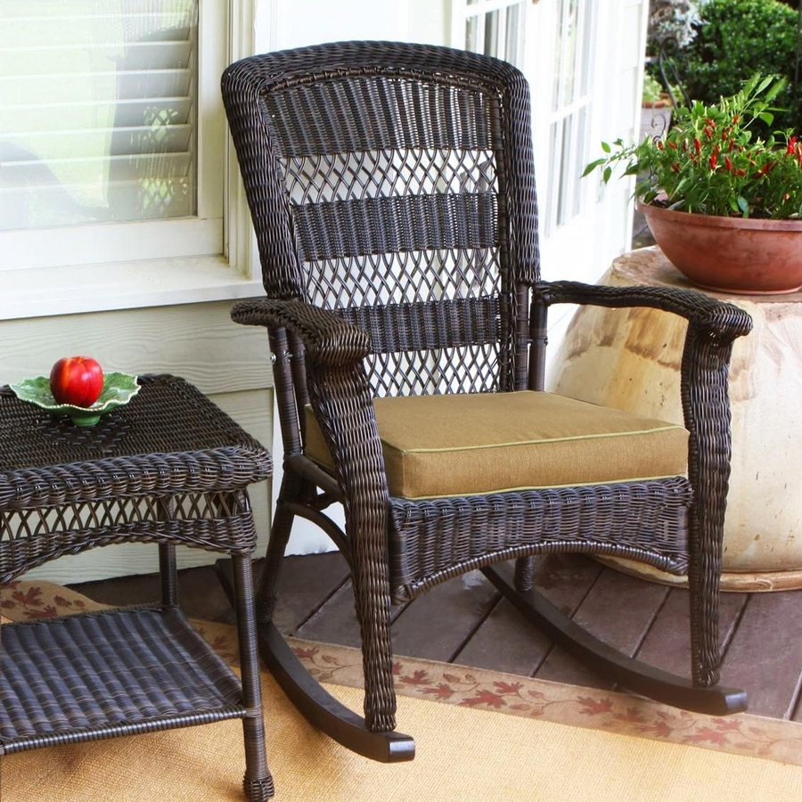 Best And Newest Shop Tortuga Outdoor Portside Wicker Rocking Chair With Khaki For Wicker Rocking Chairs With Cushions (View 11 of 15)