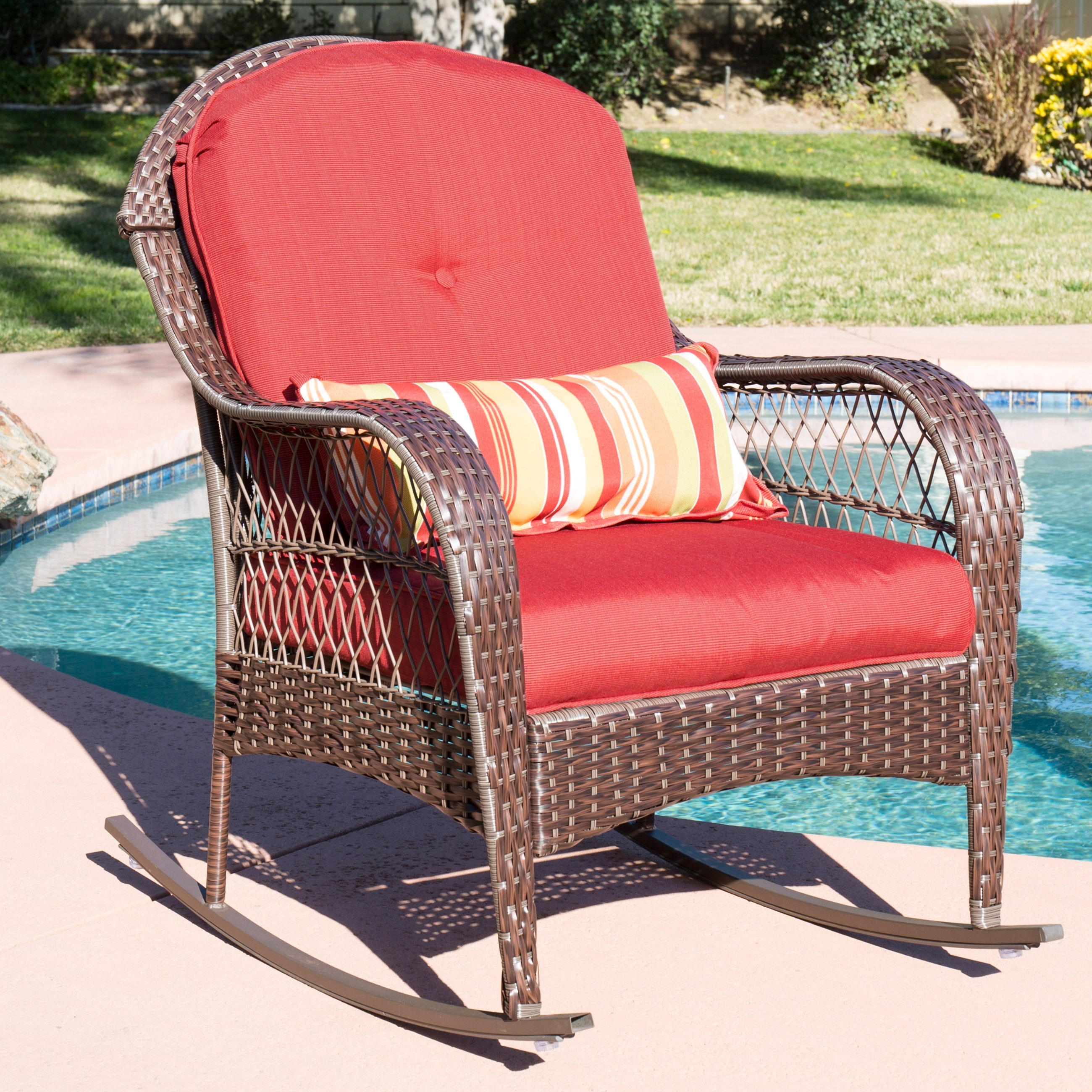 Best Choice Products Wicker Rocking Chair Patio Porch Deck Furniture For Recent Wicker Rocking Chairs With Cushions (View 1 of 15)