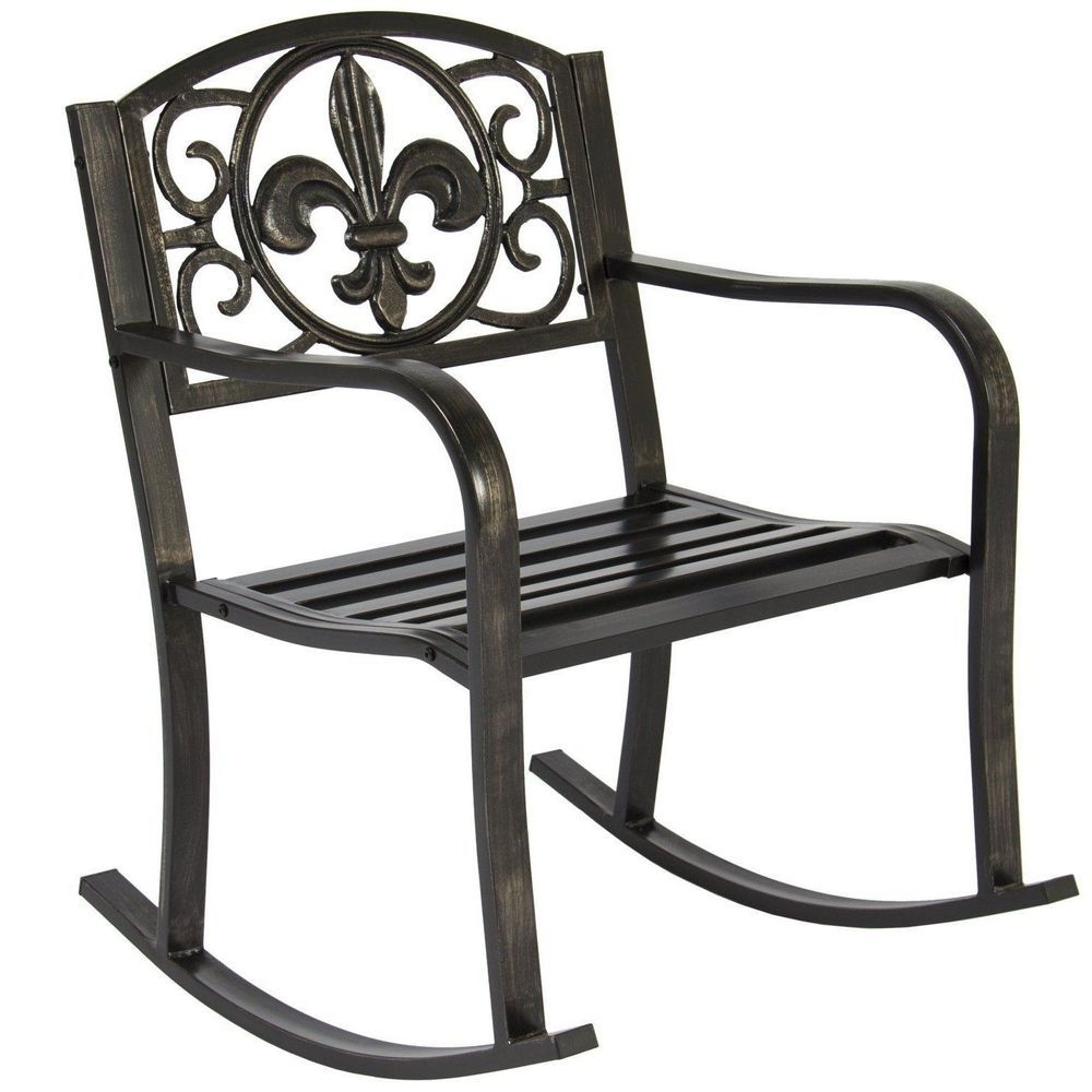 Black Metal Rocking Chair Deck Porch Patio Seat Outdoor Glider Throughout Preferred Outdoor Patio Metal Rocking Chairs (View 2 of 15)